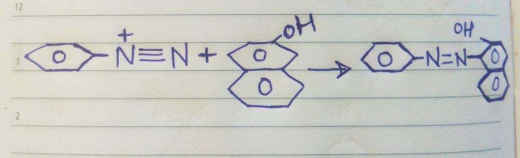 Azo dye reaction for beta-napthol