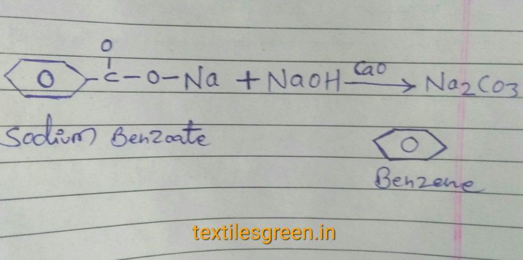 Sodium benzoate react with NaoH then make benzene.