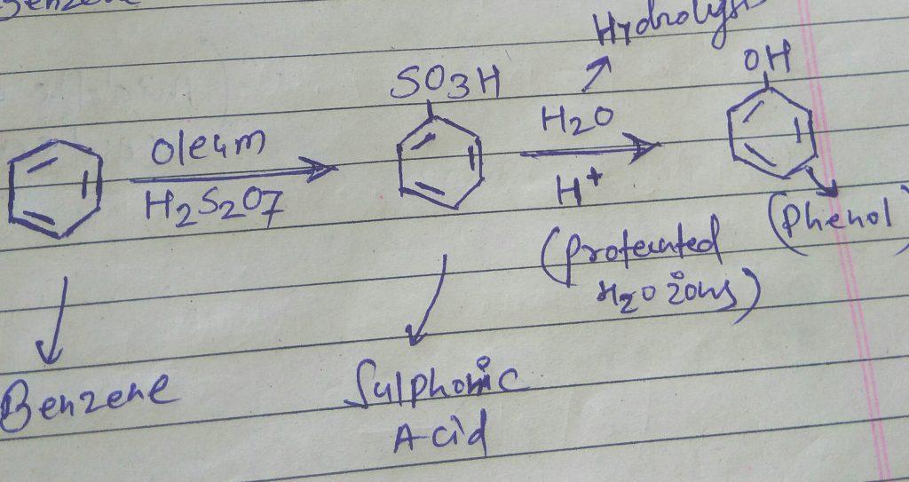 Convert benzene to phenol
