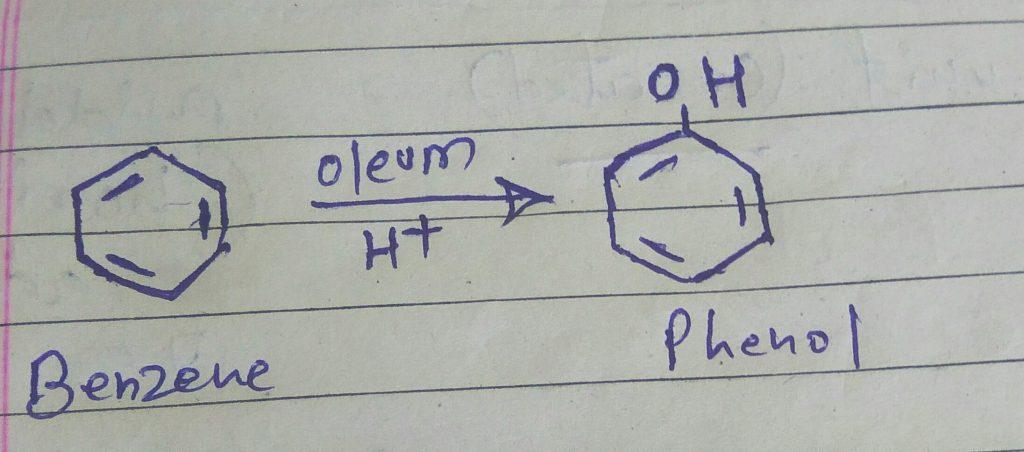 how to convert benzene to phenol