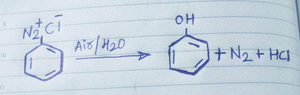 benzene diazonium chloride to phenol