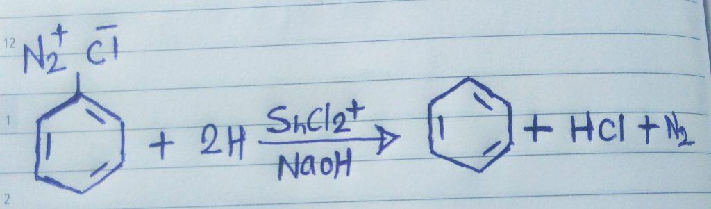 benzene diazonium chloride to benzene