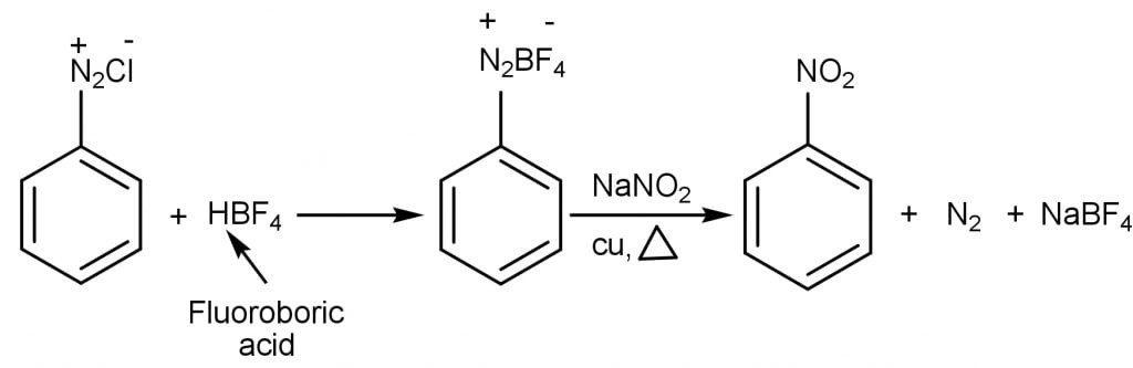 When benzenediazonium fluoroborate is heated with nano2 forms